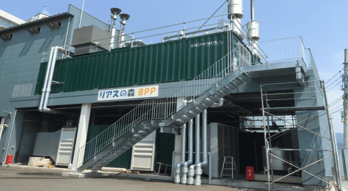 気仙沼グリーンエナジーが調達している地産電源「リアスの森BPP」(木質バイオマス発電)